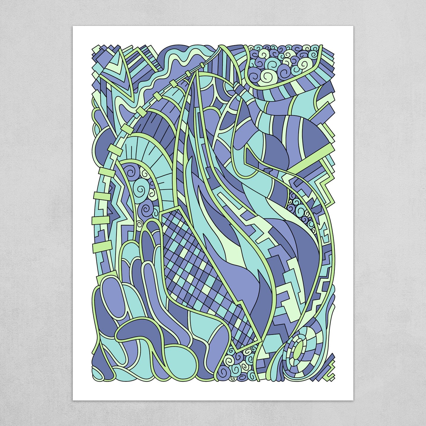 Wandering Abstract Line Art 31: Green