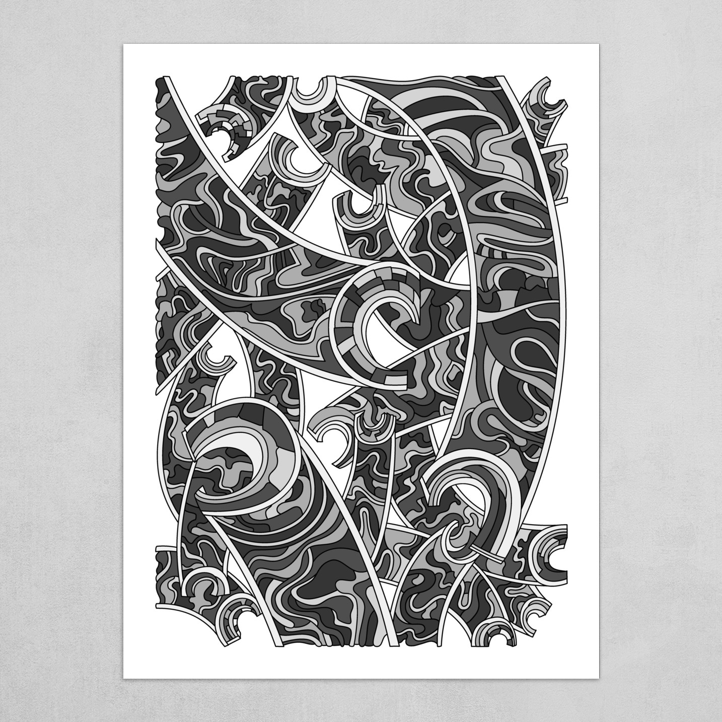 Wandering Abstract Line Art 32: Grayscale