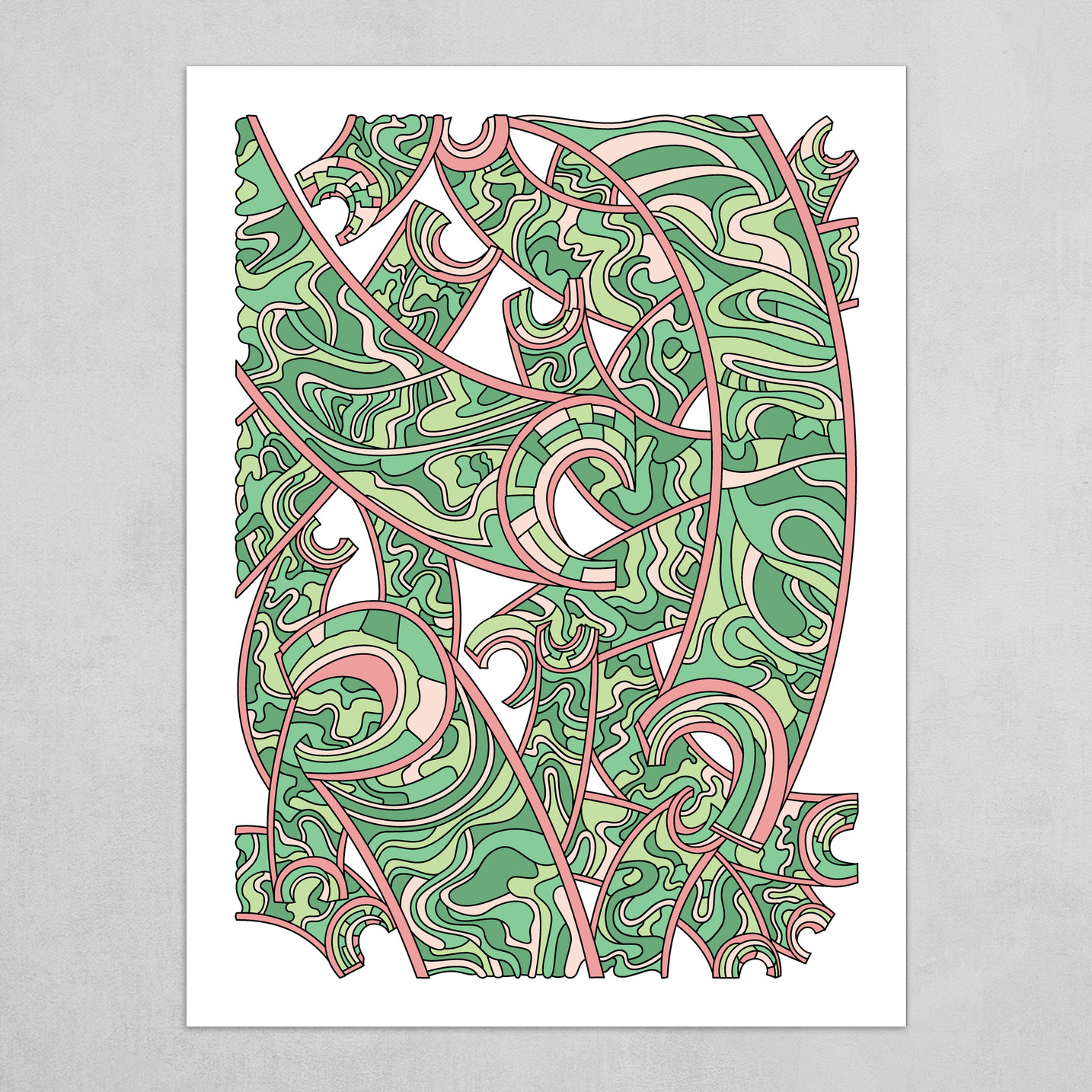 Wandering Abstract Line Art 32: Green