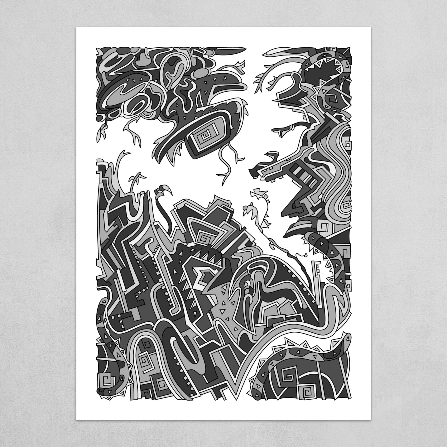 Wandering Abstract Line Art 34: Grayscale