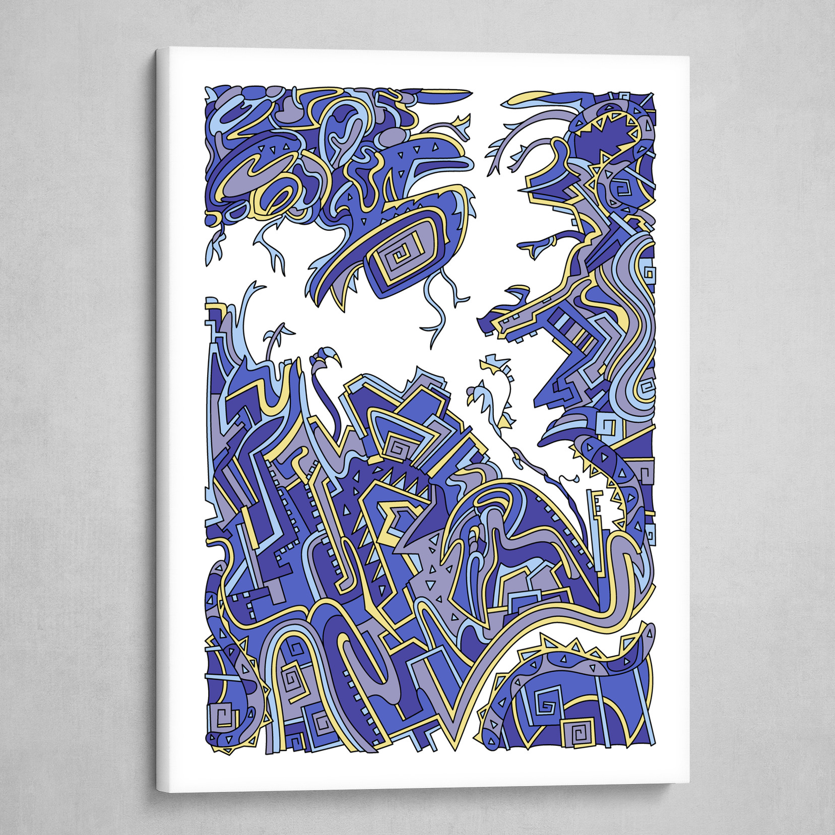 Wandering Abstract Line Art 34: Blue