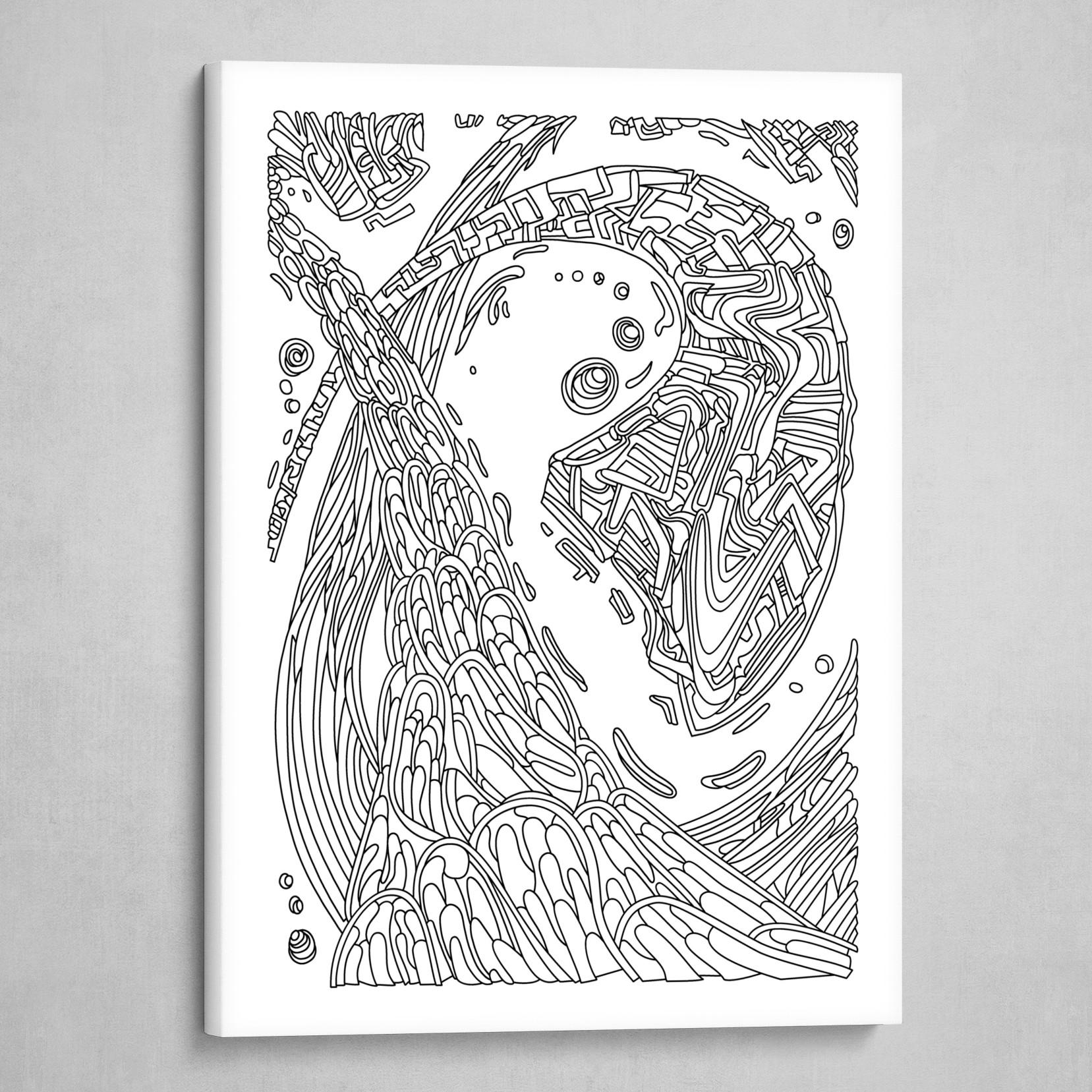 Wandering 35: black & white line art