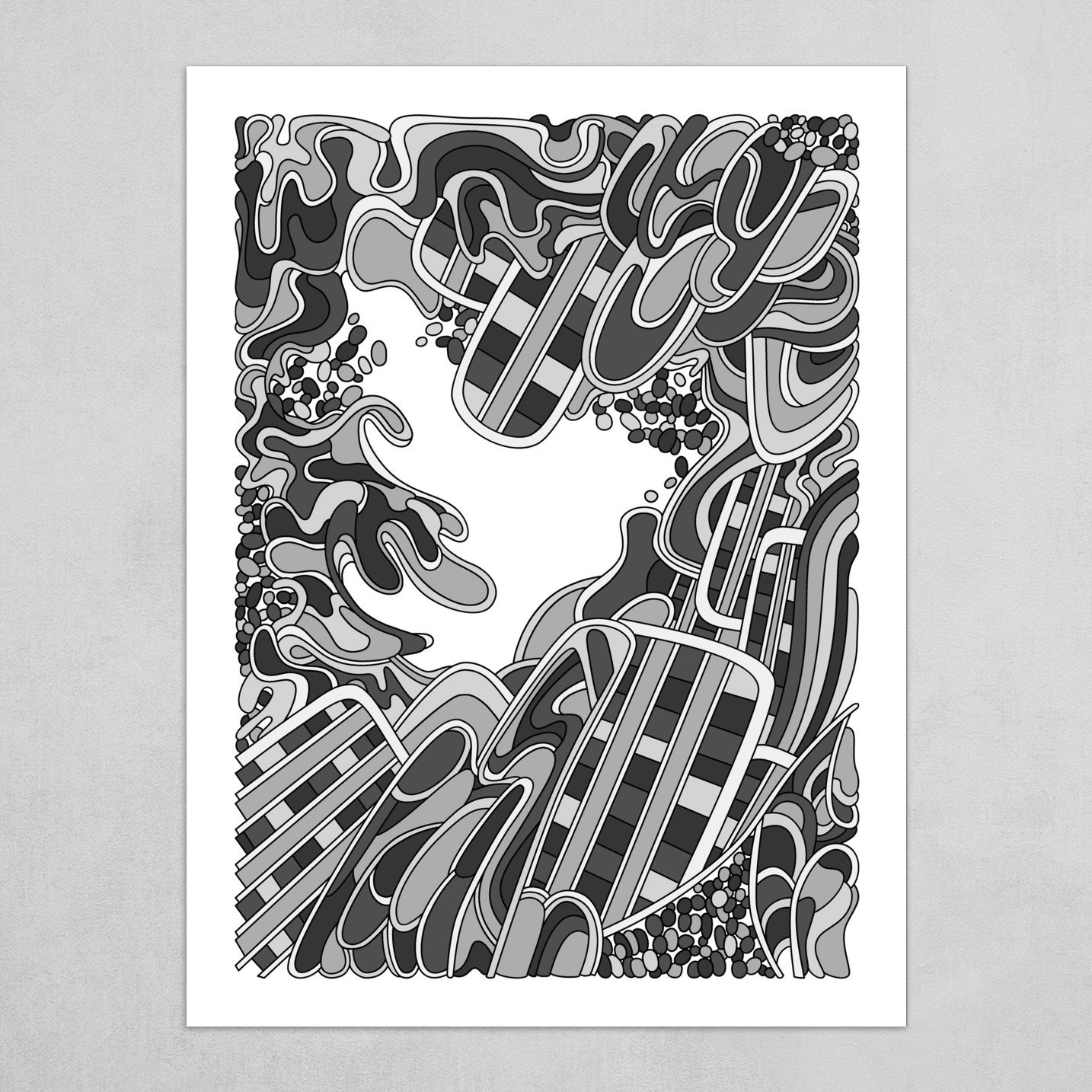 Wandering Abstract Line Art 36: Grayscale