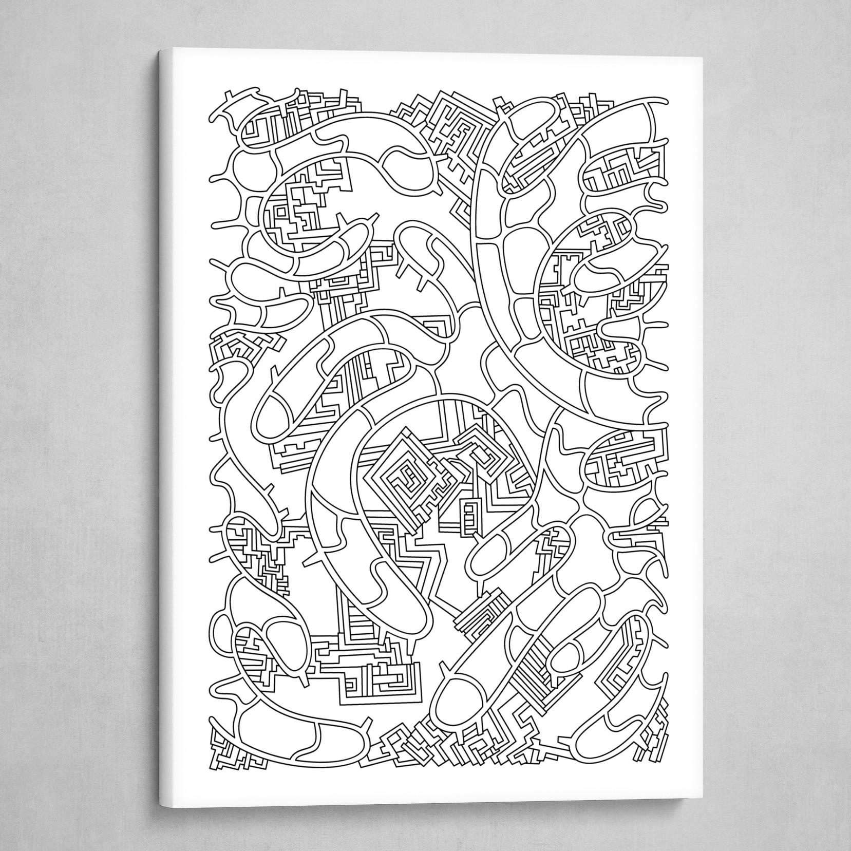 Wandering 37: black & white line art