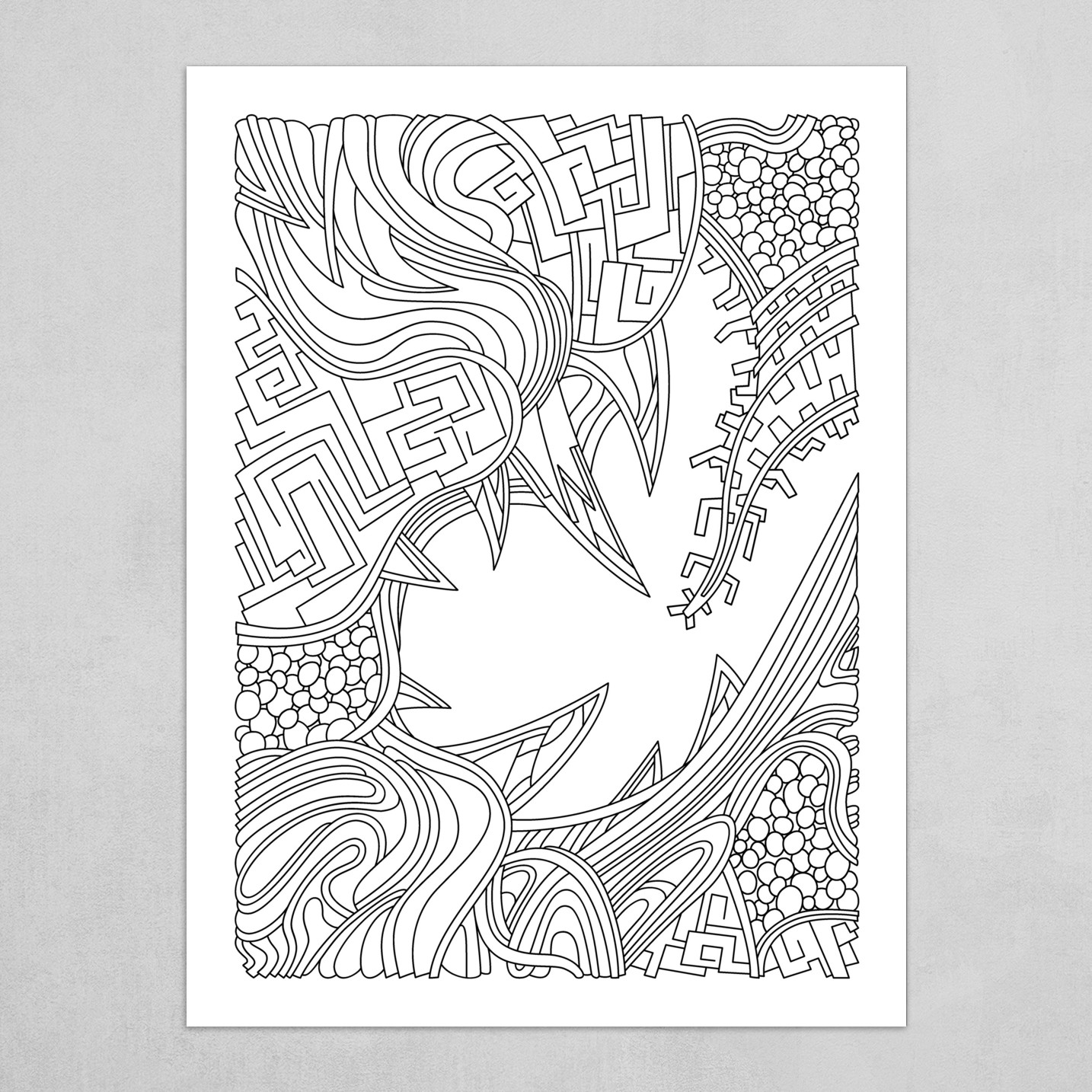 Wandering Abstract Line Art 39: Black & White