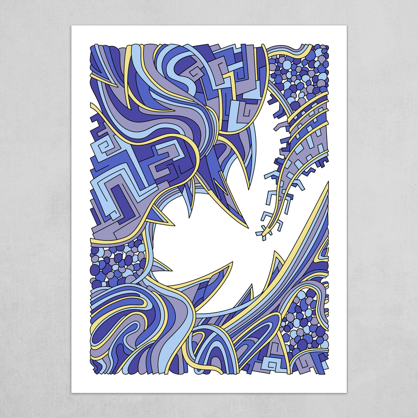 Wandering Abstract Line Art 39: Blue