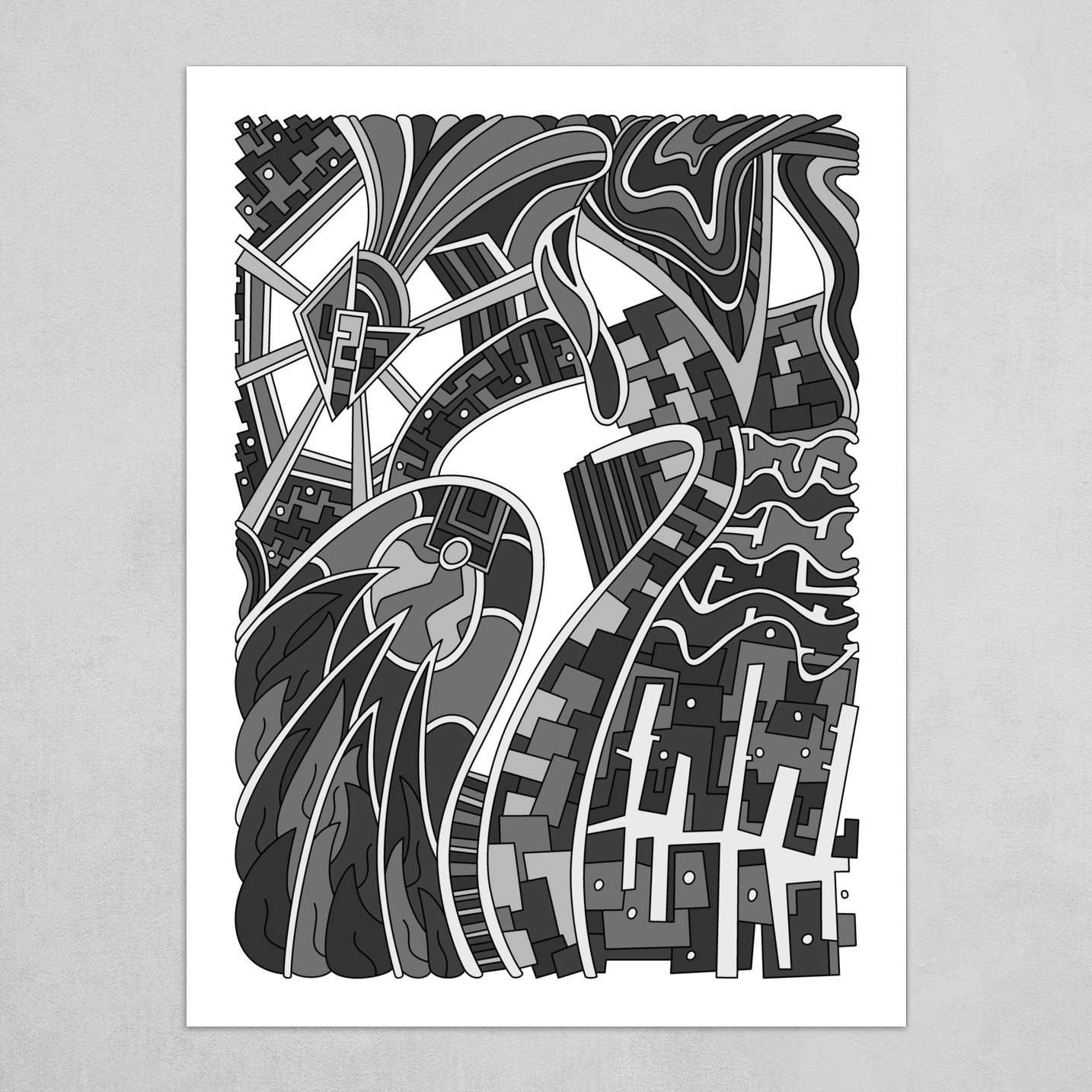 Wandering Abstract Line Art 42: Grayscale