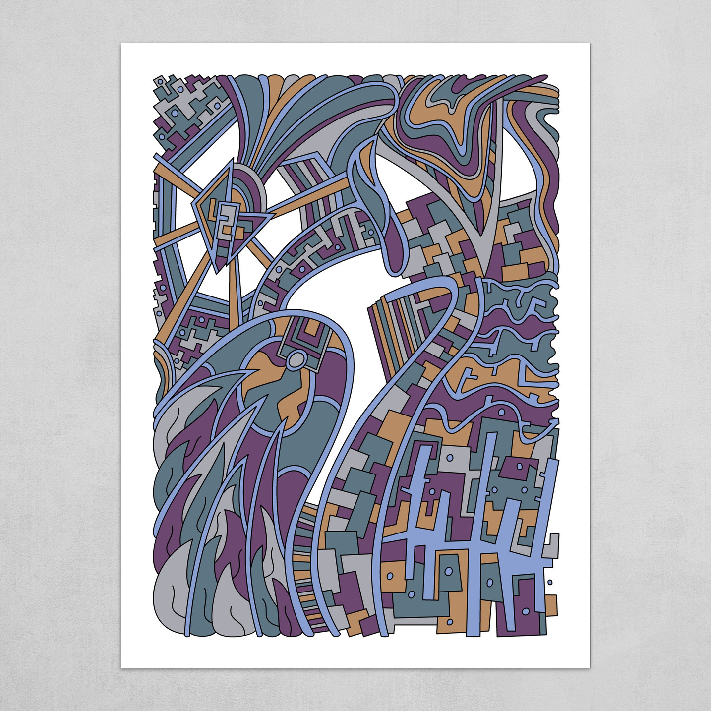 Wandering Abstract Line Art 42: Blue