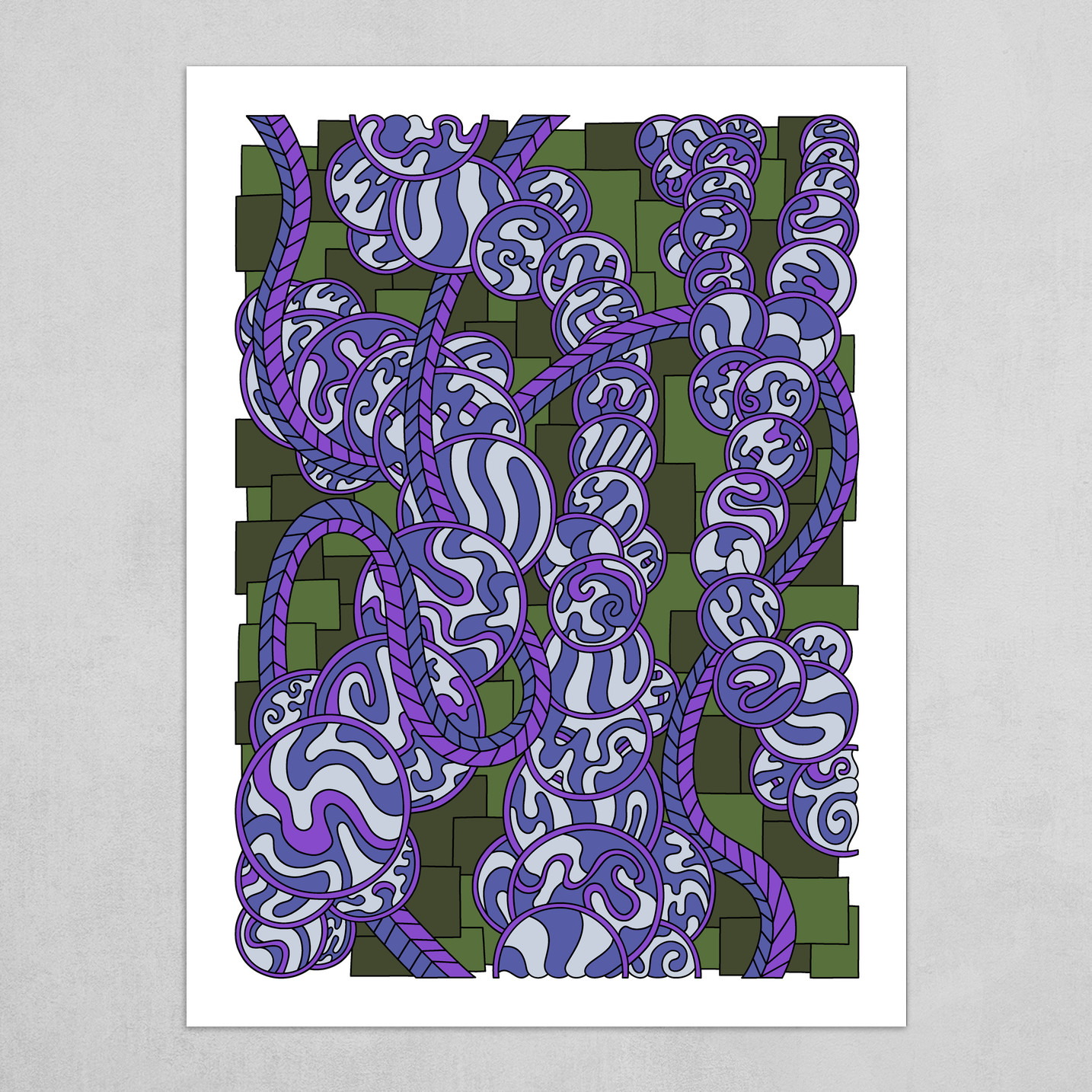 Wandering Abstract Line Art 43: Purple