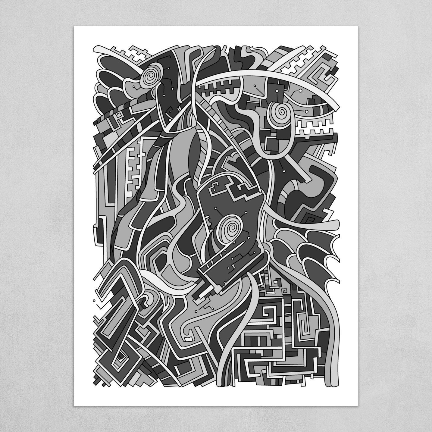 Wandering Abstract Line Art 44: Grayscale