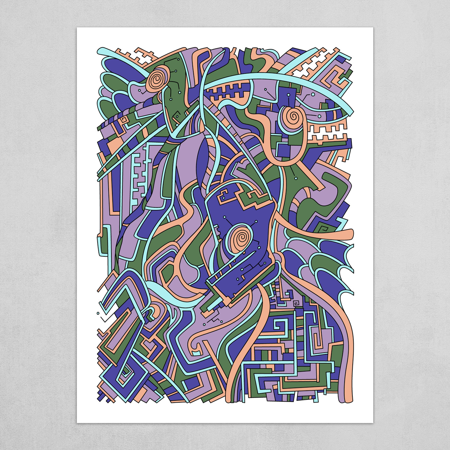 Wandering Abstract Line Art 44: Purple