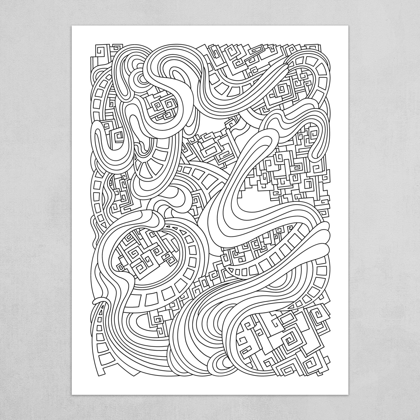Wandering Abstract Line Art 45: Black & White