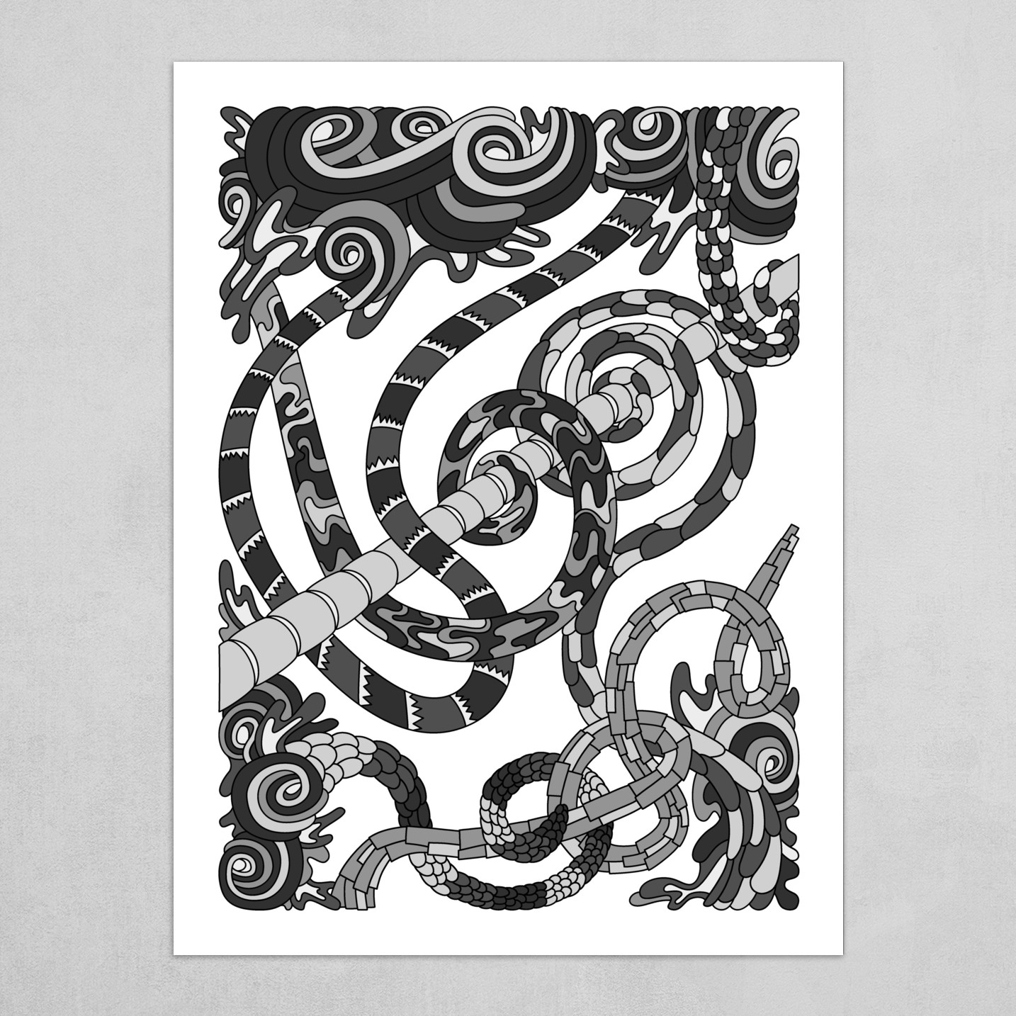 Wandering Abstract Line Art 46: Grayscale