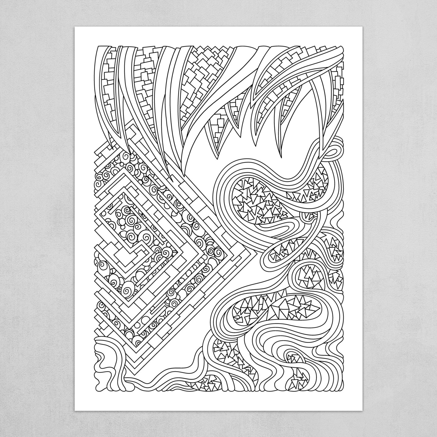 Wandering Abstract Line Art 47: Black & White