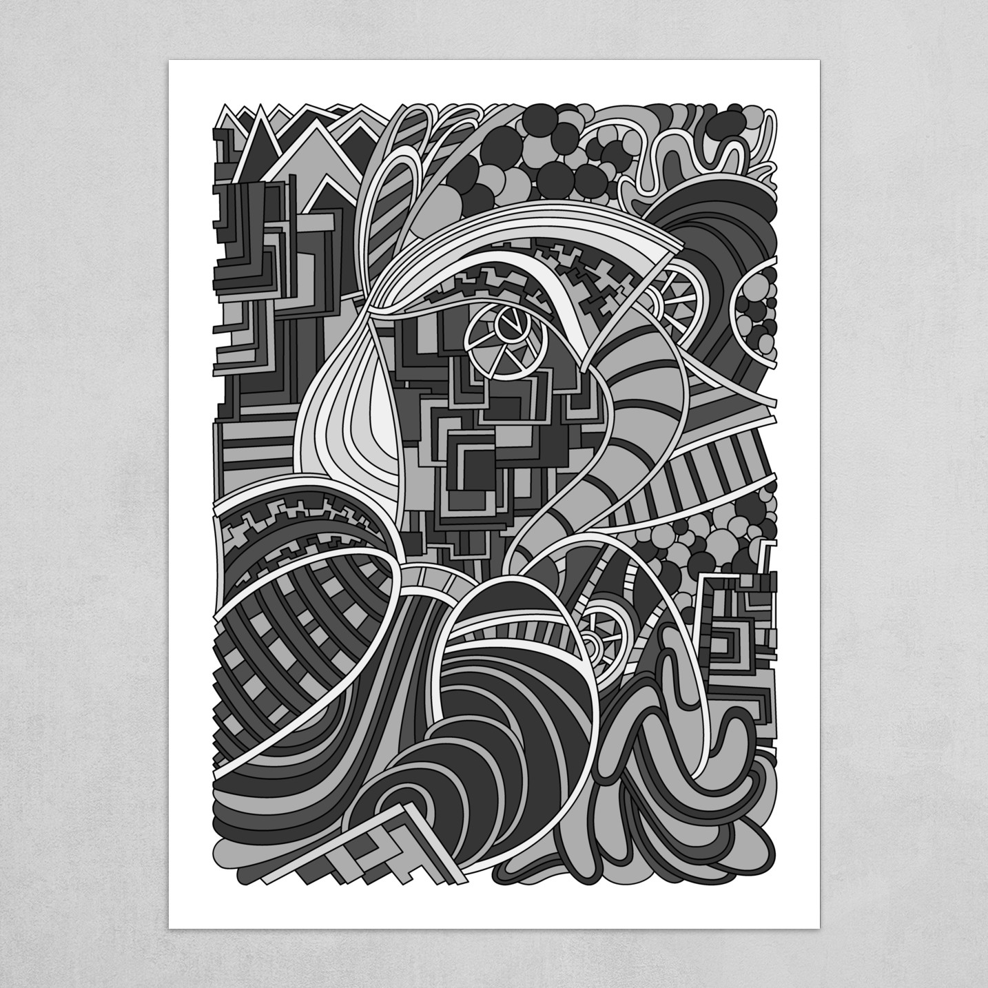 Wandering Abstract Line Art 48: Grayscale