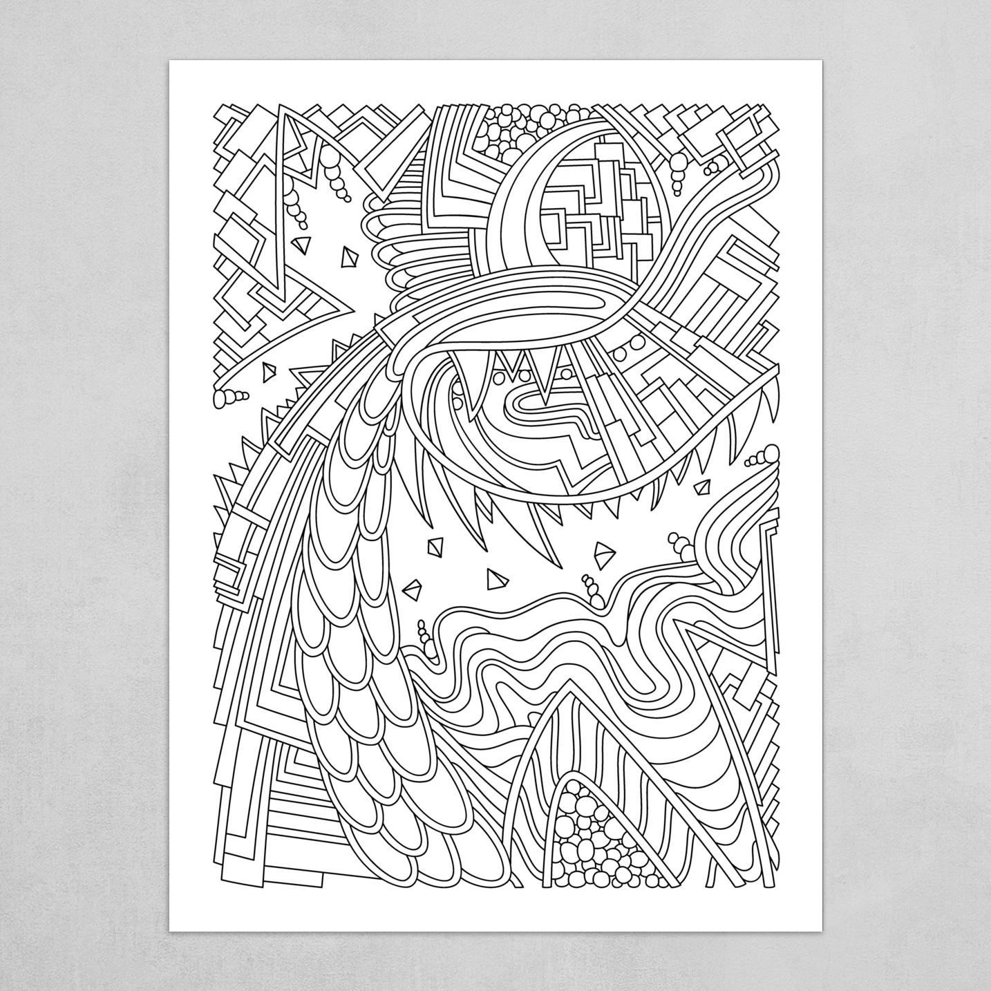 Wandering Abstract Line Art 49: Black & White