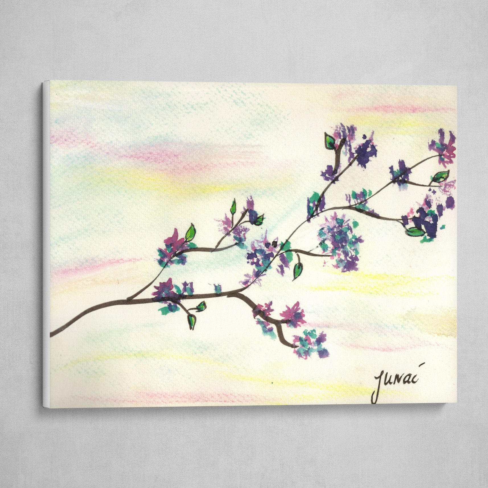 Branch with purple flowers