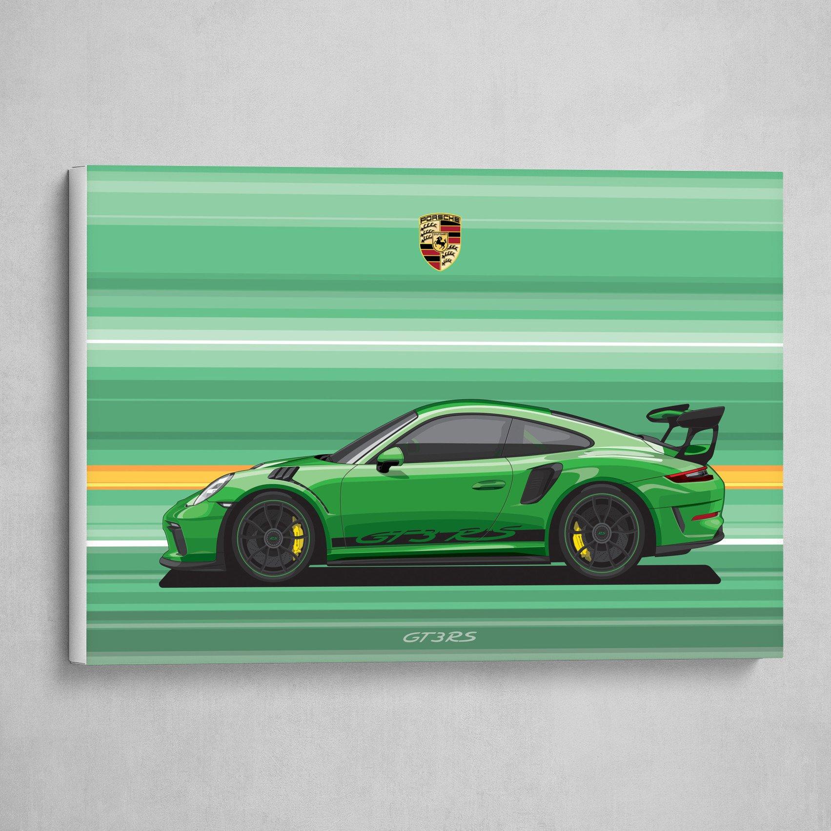 Artstation Porsche 911 Gt3 Rs Car Flat Vector Art Print