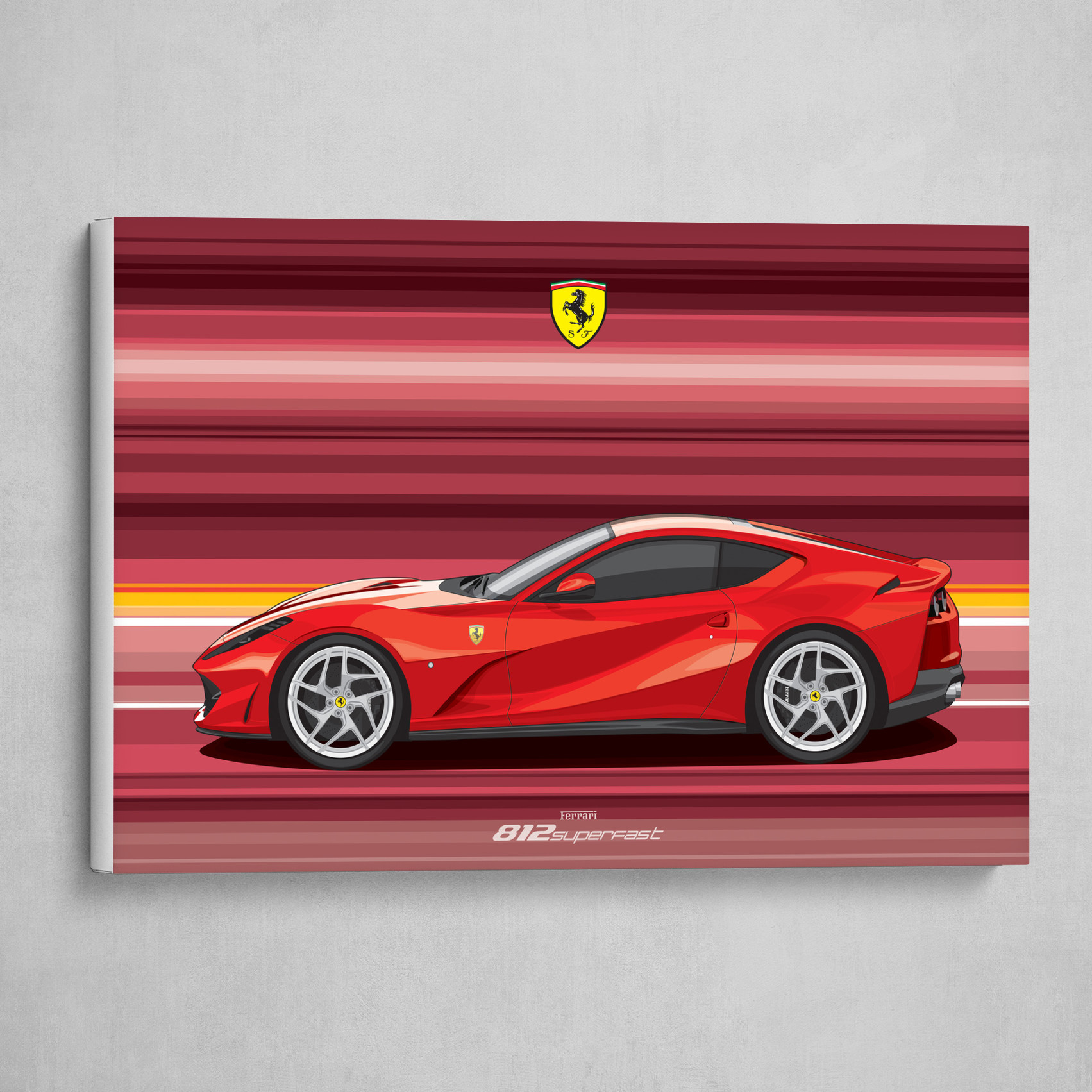 Ferrari 812 Superfast Car Flat Vector Art Poster By Srattha Nualsate