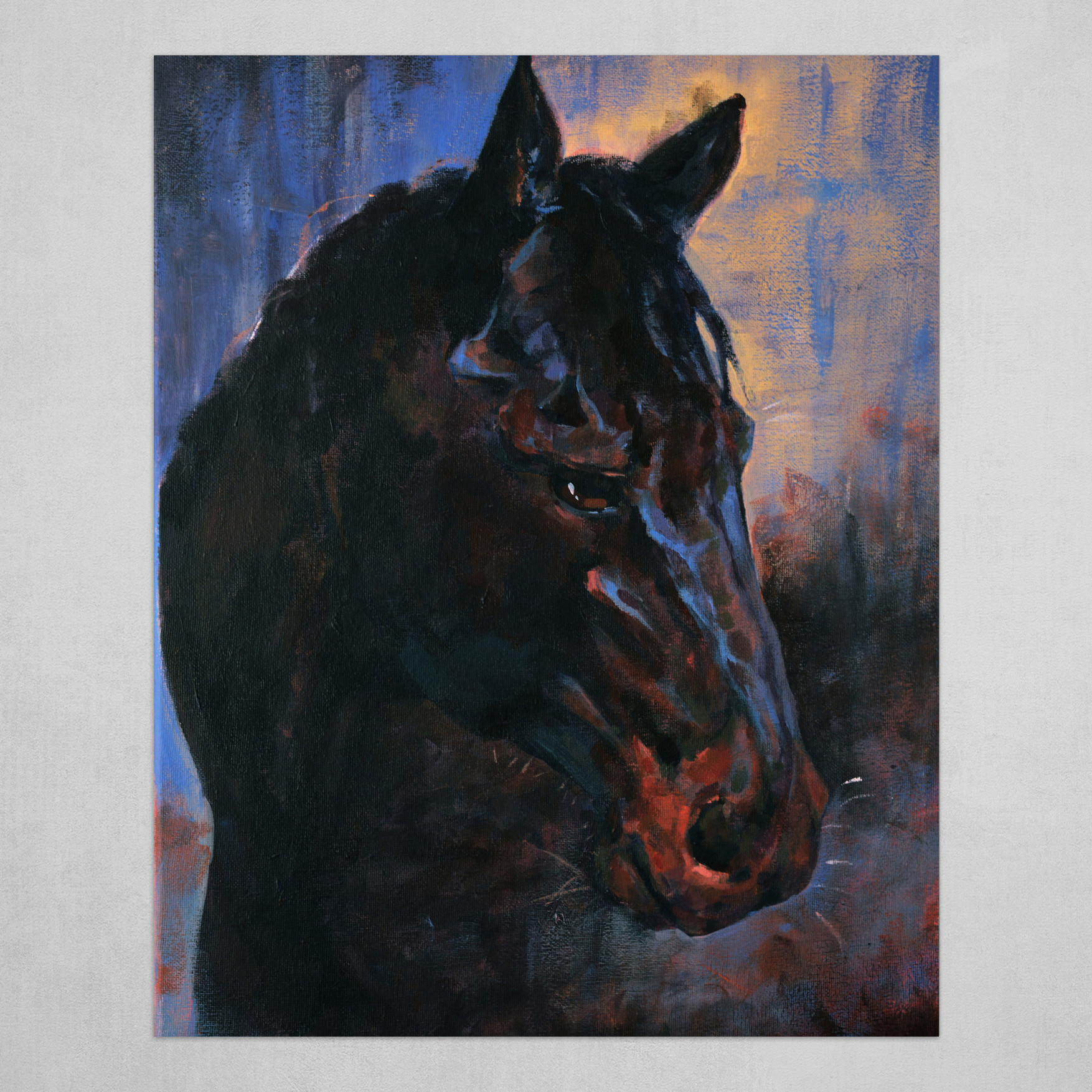 Black Horse Art Poster By Yuwei Li