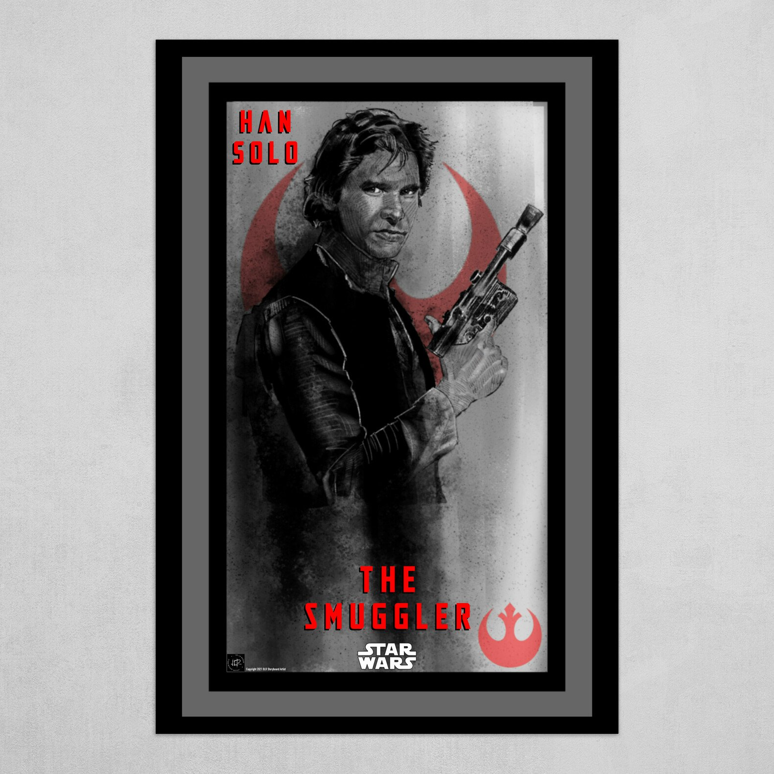Han Solo-The Smuggler Poster B&W with Red