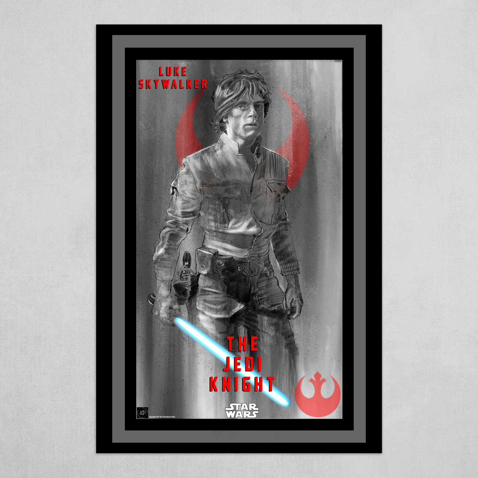 Luke Skywalker-The Jedi Knight Poster in B&W with Blue and Red