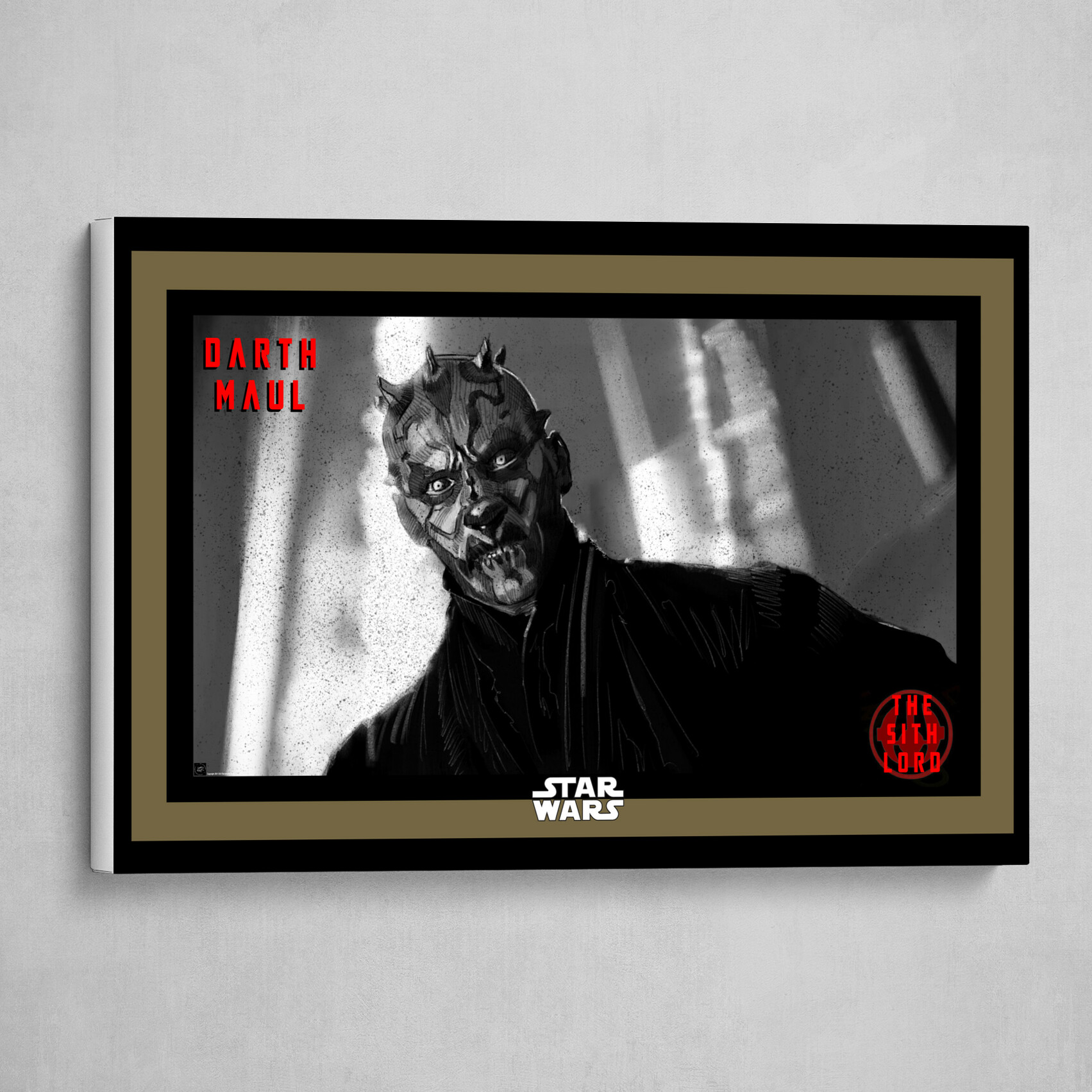 Darth Maul-The Sith Lord Poster in B&W with Red and Gold