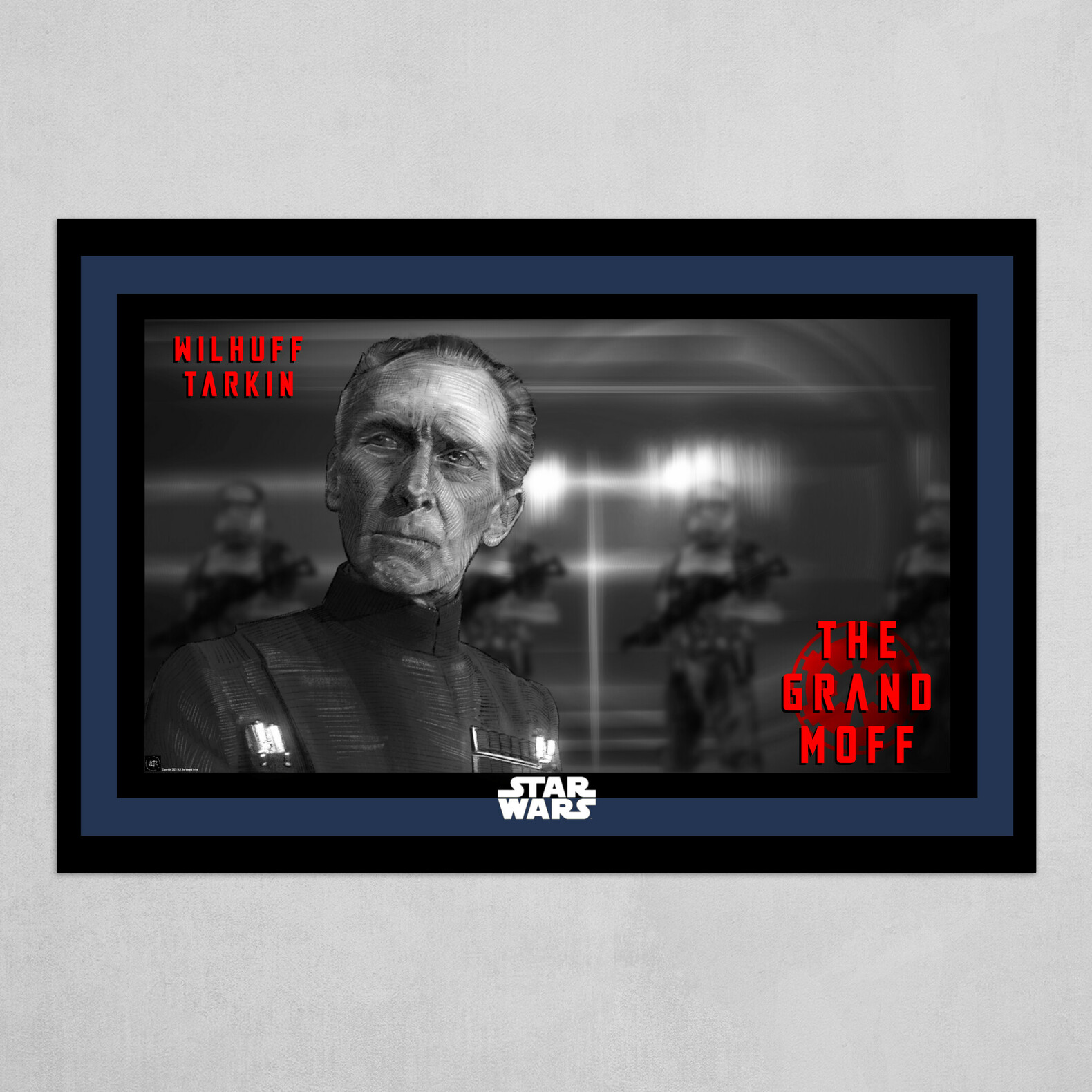 The Grand Moff Poster in B&W with Red and blue