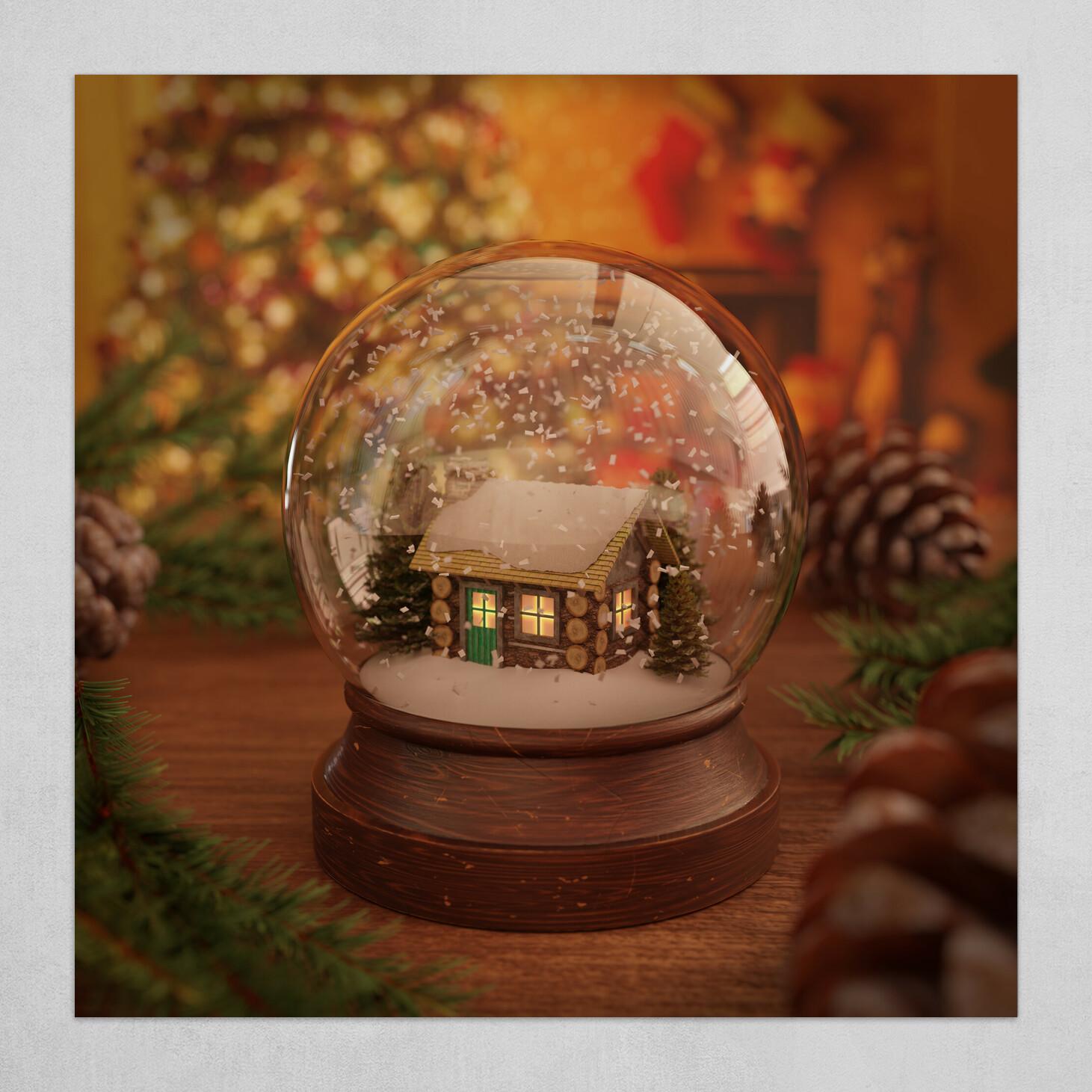 Christmas Cabin Snow Globe