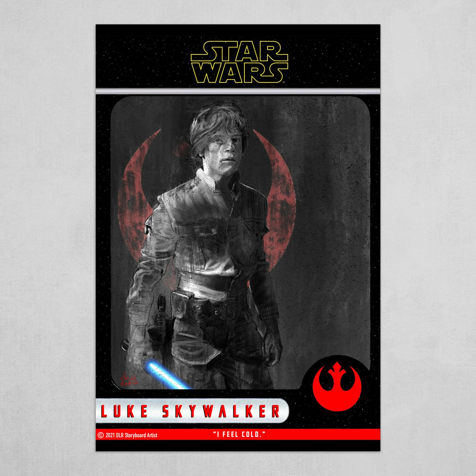Luke Skywalker Poster (Trading Card Style) B&W with Red, Blue and Yellow.