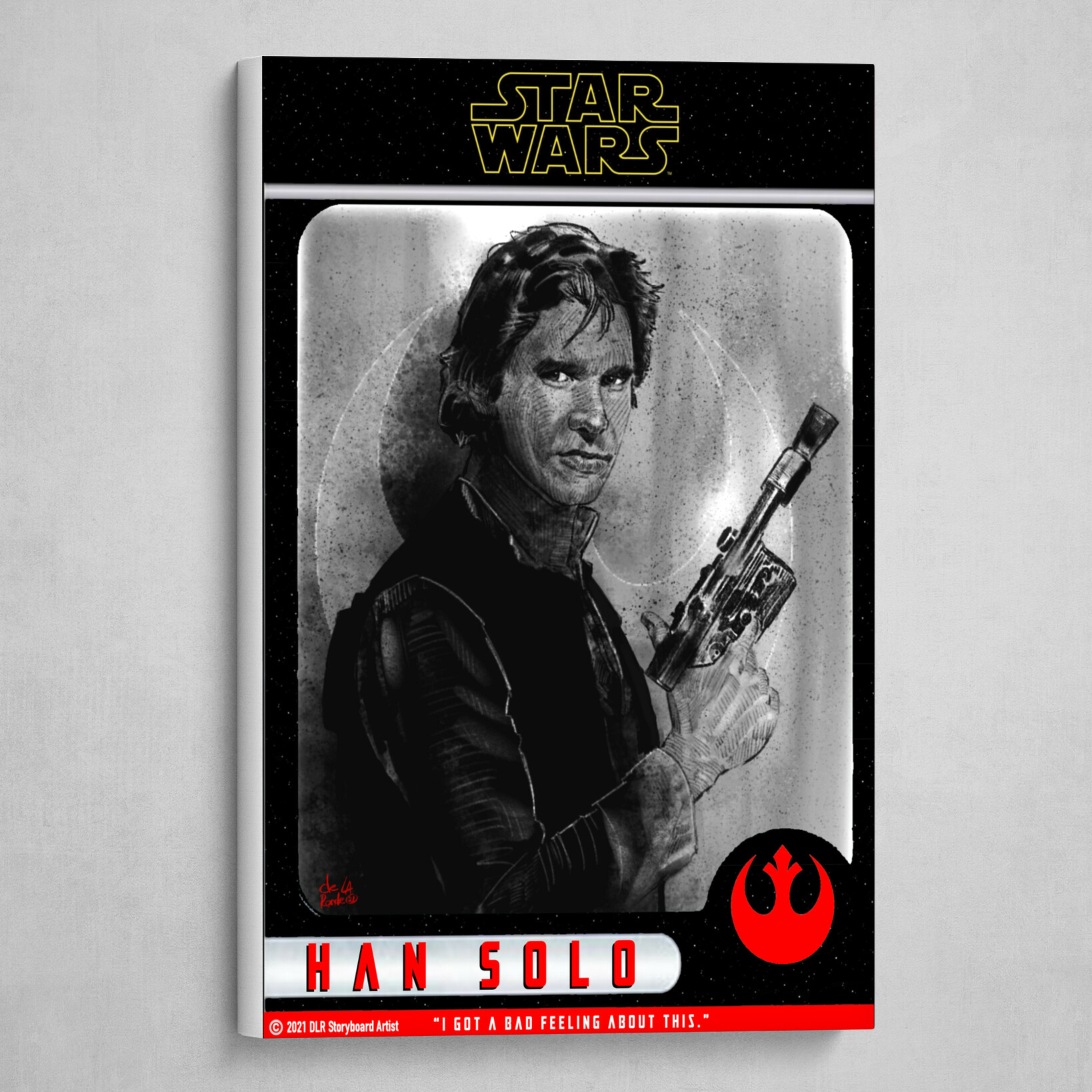 Han Solo Poster (Trading Card Style) B&W with Red and Yellow