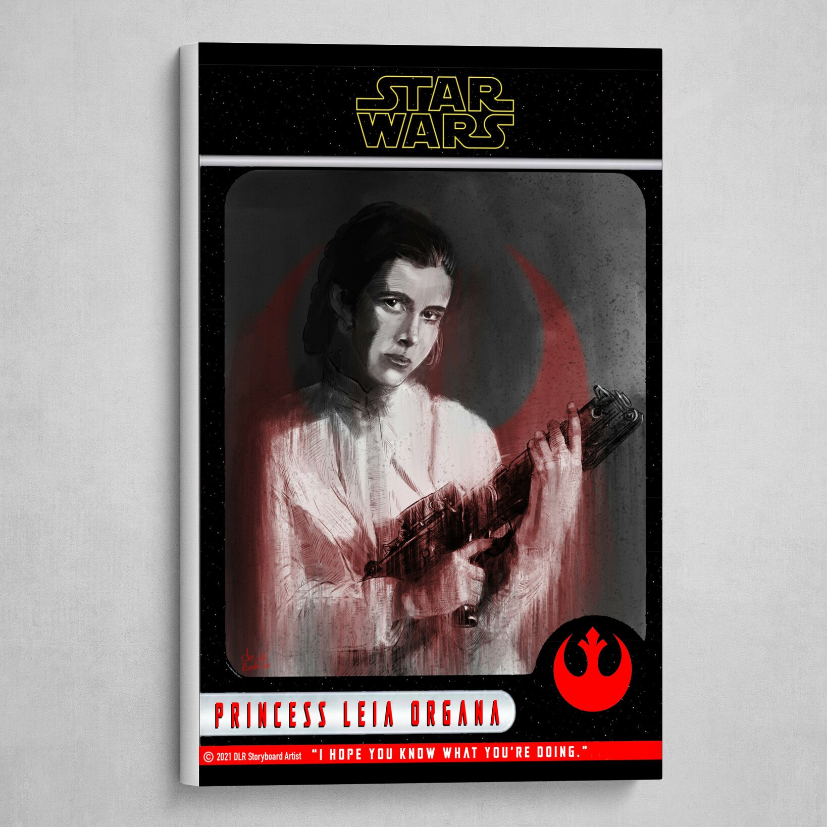 Princess Leia Poster (Trading Card Style) B&W with Red and Yellow