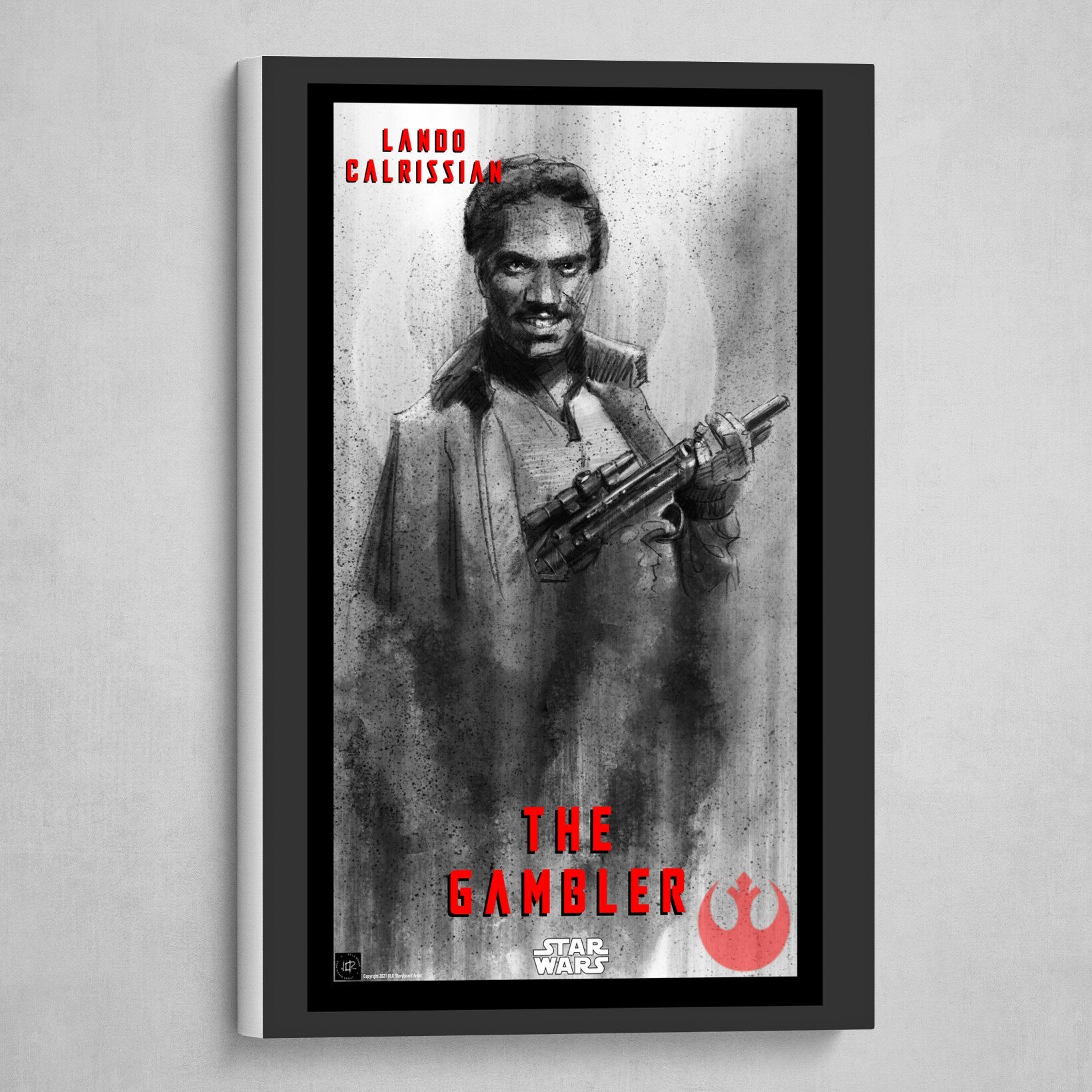 Lando Calrissian Poster -The Gambler in B&W with Red