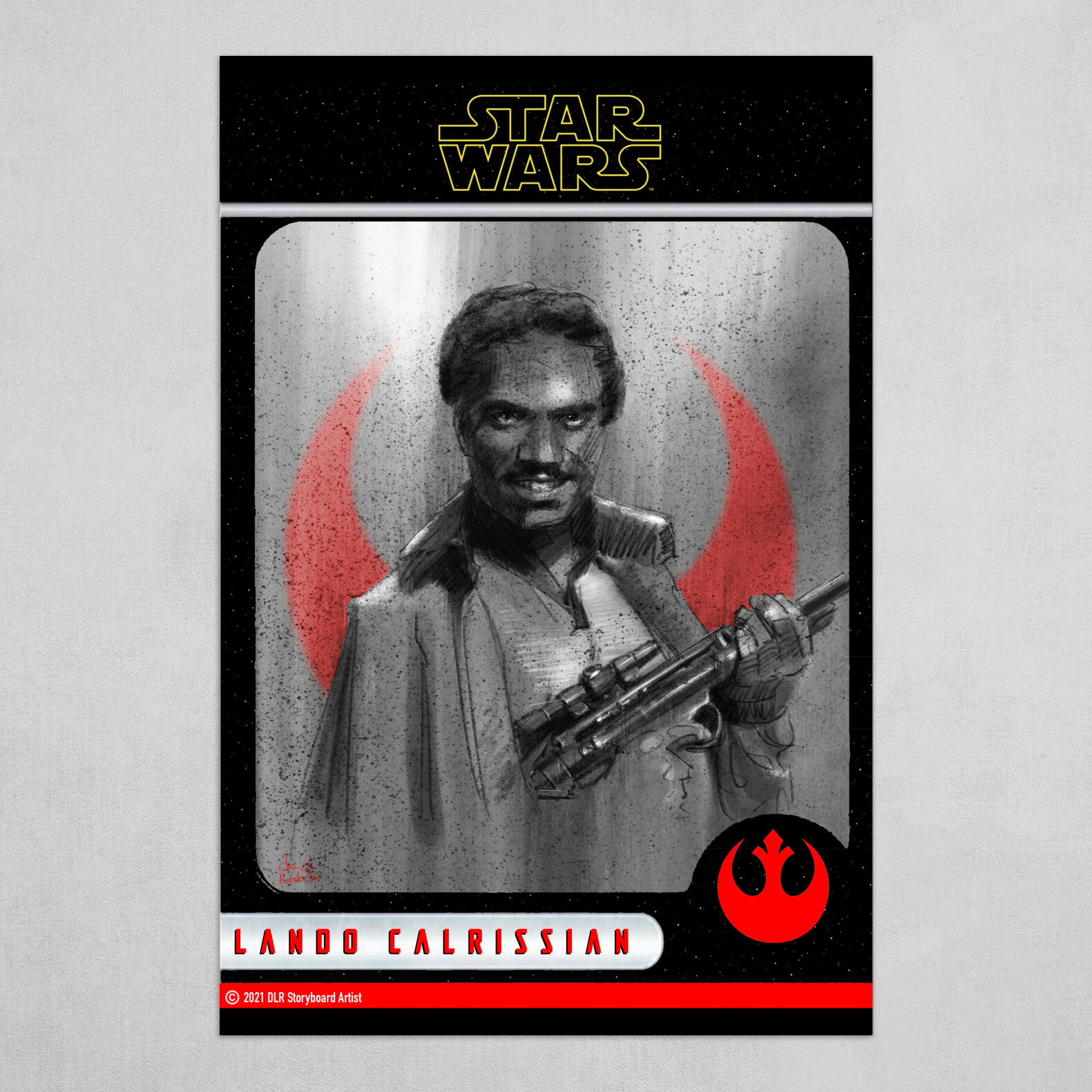 Lando Calrissian Poster (Trading Card Style) in B&W with Red and Yellow