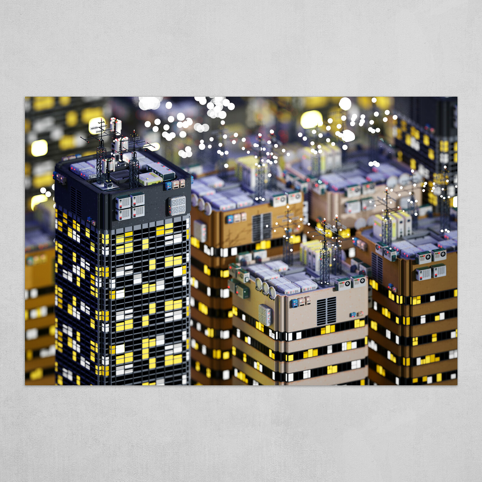 Voxel City n°3 - Night