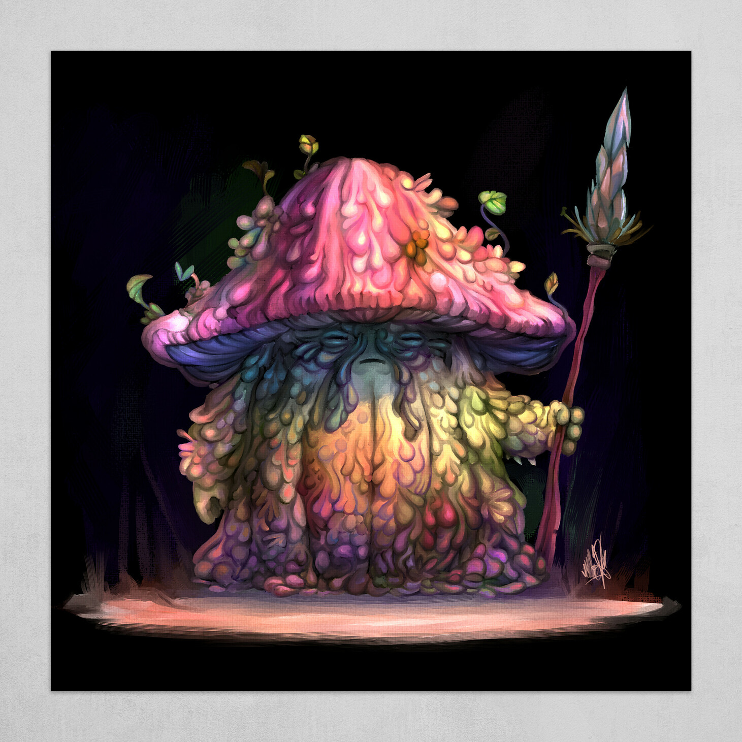 Psychedelic wise mushroom