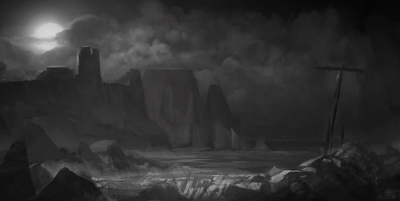Sketch castle moon