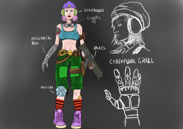 Punk girl study