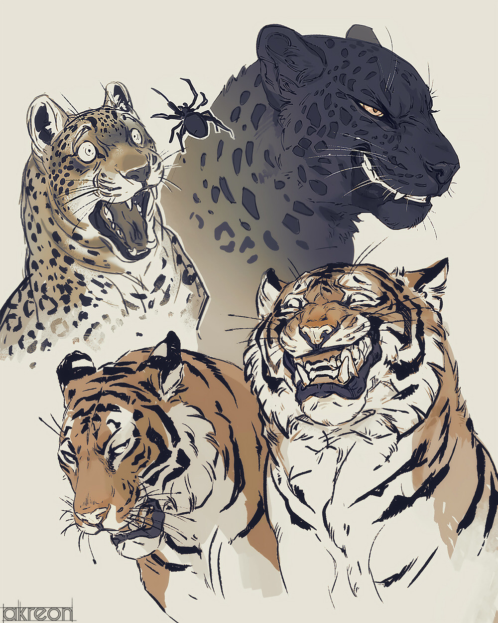Big Cats Making Faces by Anna Podedworna : ImaginaryAnimals